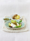 Petits Suisse cheese with walnut pesto in serving bowl
