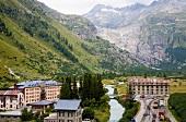 Wallis, Gletsch und die Rhone am Rhonegletscher