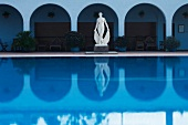 Nude statue of woman at hotel pool in Costa Brava, Spain