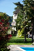 View of garden of Plars Castle in South Tyrol, Italy