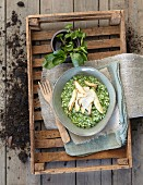 Herb risotto with white asparagus and king trumpet mushrooms