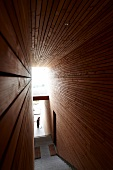 Staircase of Pergola residence with wooden walls in Merano, South Tyrol, Italy