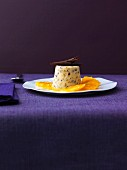 Gingerbread mousse with tangerines on plate