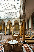 Interior of Thermal palace with tables and chairs in Bad Wildbad, Black Forest, Germany