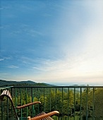View of hills of Black Forest from balcony, Germany
