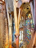 Columns and stained glass windows of Sagrada Familia Church, Barcelona, Spain