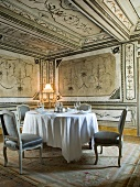 Interior of Palazzo with Table and dining chair, Italy