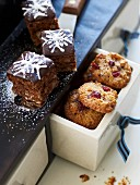 Macadamia nut brownies and walnut and cranberry cookies