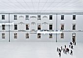 People in atrium of Albertinum Museum, Dresden, Germany