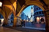 People on streets at evening in Gorlitz, Saxony, Germany
