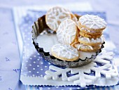 Christmas biscuits iced with snowflakes