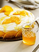 Orange tart with orange syrup
