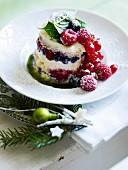 Tiramisu tartlet with berries and sweet basil sauce
