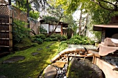 Japanese style garden on terrace, New York, USA