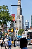 View of people at Flatbush Avenue at Brooklyn, New York, USA
