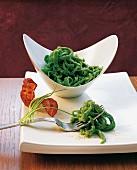 Swabian spinach Spätzle (soft egg noodles, Germany)