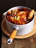 Coq au vin with bacon and mushrooms