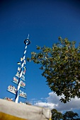 Low angle view of Maypole at the Viktualienmarkt, Munich, Germany