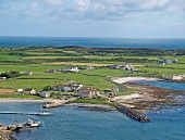View of Rathlin Island in Ireland, aerial view