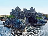 View of rocky coast of Cromwell Barracks in Inishbofin, Ireland