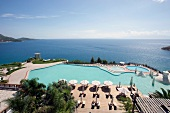 View of Aegean sea and swimming pool of Kempinski Hotel Barbaros Bay, Bodrum, Turkey