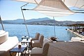 Türkei, Bodrum, Blick vom Mcakizi- Resort auf das Meer