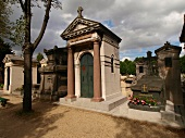 Graves in Pere Lachaise Cemetery in Paris, France