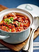 Bean and beef chilli in a pot