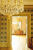 Interior of Schwetzingen Castle with chandelier, Germany