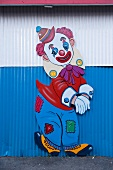 Clown drawn on the park wall at Coney Island, New York, USA