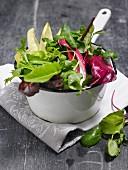 Mixed leaf salad in an enamel colander