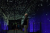 Visitor standing and looking up at starry sky in Climate House, Bremerhaven, Germany