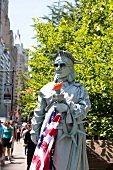 Human Statue of Liberty in Central Park, New York, USA