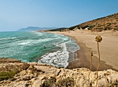 View of dunes and beach with blue sky in Patara, Lycia, Turkey