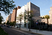 View of Bronx Museum and street, New York, USA