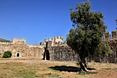Courtyard of ruined Mamure Castle in Anamur, Antalya, Turkey
