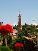 View of Fluted Minaret Mosque in Antalya, Turkey
