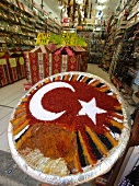 Various types of spices in form of national colours, Antalya