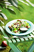 Herring salad with apple and cucumber on a stool outside