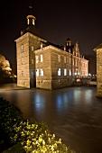 View of Castle Hugenpoet at night in Kettwig, Germany