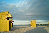Sun shade chair on Travemunde beach at Lubeck Baltic Sea Coast, Germany