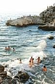 People enjoying in Adriatic sea coast in Croatia
