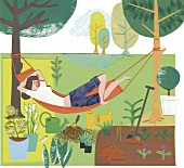 Illustration of woman relaxing on hammock in garden