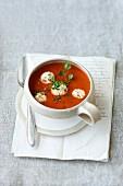 Tomato soup with tofu dumplings
