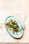 Lentil salad with avocado, apple, chilli and mint