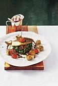 Filets vom Saint-Pierre auf Blattspinat mit Beurre Rouge