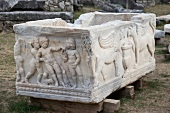 View of marble sarcophagus in Solin, Dalmatia, Croatia