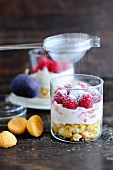 Trifle with raspberries
