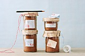 Carrot cake with coconut baked in jars as gifts
