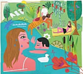 People relaxing and swimming at lake with music, illustration